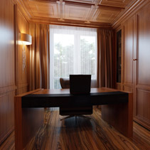 elegant office made with rich wood